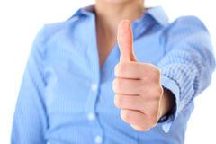 Thumb up, blue shirt, isolated on white Stock Photo