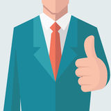 Thumb up. Business man give thumb up sign. There is full head of character in clipping mask layer. Flat design vector illustration