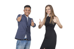 Thumb up business partners, isolated Stock Photo
