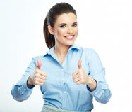 Thumb up. Business woman isolated white background. Royalty Free Stock Photo