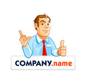 Thumb up businessman cartoon character. Stock Photos