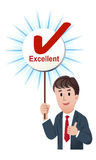 Thumb up businessman with a excellent score board Stock Image