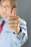 Thumb Up. Businessman showing thumb up, satisfied pleased employer or manager concept. Ok, approval, recognition concept Royalty Free Stock Photo