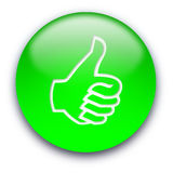 Thumb up button. Green glossy button with a thumb turned up Vector Illustration