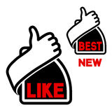 Thumb up button. Like and best label - hand gesture icon Stock Images