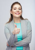 Thumb up. Casual style young woman isolated studio background. Royalty Free Stock Photo