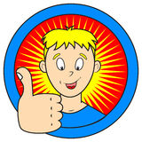 Thumb up. Comics style illustration of funny boy showing thumb up Royalty Free Stock Images