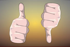 Thumb up and down. Illustration Stock Images