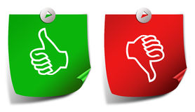 Thumb up down. Thumb up and down voting stickers Royalty Free Stock Photos