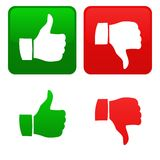 Thumb up and down. Icon of the gesture for thumb up or down. Vector available Stock Photo