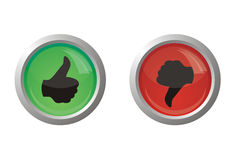 Thumb up or down. Illustration of glance buttons with thumb up and thumb down silhouettes Stock Photos
