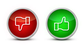 Thumb up and down buttons Stock Photography