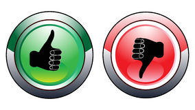 Thumb Up Down Buttons. Illustrations of Thumb up and down buttons set for voting Stock Image