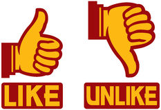 Thumb up and down gesture. Like and unlike, Yes or No Royalty Free Stock Image
