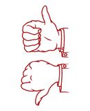 Thumb up and down gesture icon Royalty Free Stock Photo