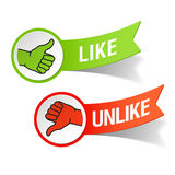 Thumb up and down gestures - like and unlike. Vector illustration of like and unlike signs Royalty Free Stock Photo