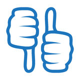 Thumb up and down icon. Blue color isolated on white Stock Image
