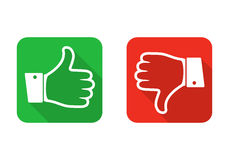 Thumb up and down icon. Vector illustration. Thumb up and down, isolated icons. Vector illustration. Thumb up and down in flat design royalty free illustration