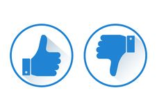 Thumb up and down. Like and dislike. Blue round icon. Vector illustration stock illustration