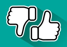 Thumb up and down. Like and dislike. Vector illustration. Thumb up and down. Like and dislike. Black and white hands on green background. Vector illustration royalty free illustration