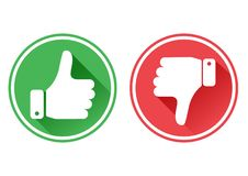 Thumb up and down red and green icons. I like and dislike. Vector. Illustration royalty free illustration