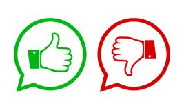 Thumb up and down icons. Vector illustration. Thumb up and down red and green icons. Vector illustration. I like and dislike round buttons in flat design vector illustration