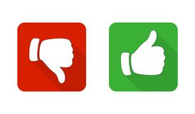 Thumb up and down the red and green icons. Vector illustration. I like and do not like the square buttons. In a flat design royalty free illustration