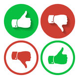 Thumb up and down symbols. Human hand icon. Sign of Like. And Dislike. Voting good or bad signs stock illustration
