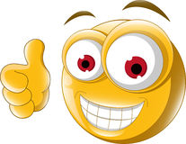 Thumb up emoticon for you design Stock Photography