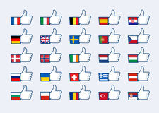 Thumb up Europe flags Stock Image