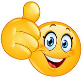 Thumb up female emoticon. Female emoticon showing thumb up Stock Image