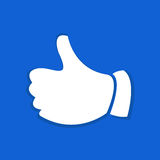 Thumb up gesture flat icon. Stock Photo