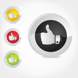 Thumb Up Gesture Icon. Vector illustration of web site icon of gesture for thumb up, symbol of acceptance, likeness or success etc Stock Images