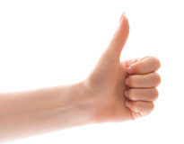 Thumb up gesture over white Stock Image