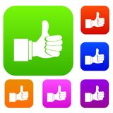 Thumb up gesture set collection. Thumb up gesture set icon in different colors isolated vector illustration. Premium collection Royalty Free Stock Images