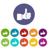 Thumb up gesture set icons. In different colors isolated on white background Stock Photography