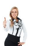 Thumb up gesturing businesswoman Royalty Free Stock Photos