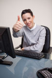 Thumb up given by businesswoman Royalty Free Stock Photos