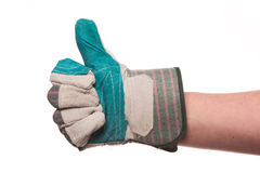 Thumb up with glove Stock Photography
