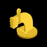Thumb up golden statuette. Everything is good. Award for cheerfu Royalty Free Stock Photos