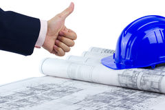 Thumb up good construction plan Royalty Free Stock Image