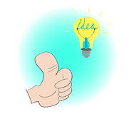 Thumb up for good idea. When people get a good idea they must thumb up for it Stock Photo