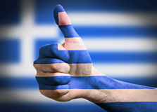 Thumb up. Greece flag background Stock Photo