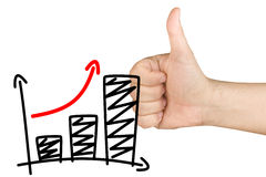 Thumb Up Growth Bar Graph Glass Whiteboard. Male hand with thumb up for approving growth bar graph reported with marker on clear glass whiteboard isolated on royalty free stock photo