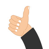 Thumb up hand of businessman. Sign well. good mood Symbol Royalty Free Stock Photo