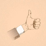 Thumb Up Hand Gesture Business Man Sketch Retro Royalty Free Stock Images