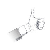 Thumb Up Hand Gesture Business Man Sketch Retro Stock Image