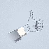 Thumb Up Hand Gesture Business Man Sketch Retro Royalty Free Stock Photography