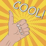 Thumb up, hand gesture - COOL. Comic illustration in pop art retro style at sunburst background with dot halftone effect, vector. royalty free illustration