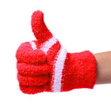 Thumb Up. Hand in Knitted Red Gloves isolated Royalty Free Stock Image